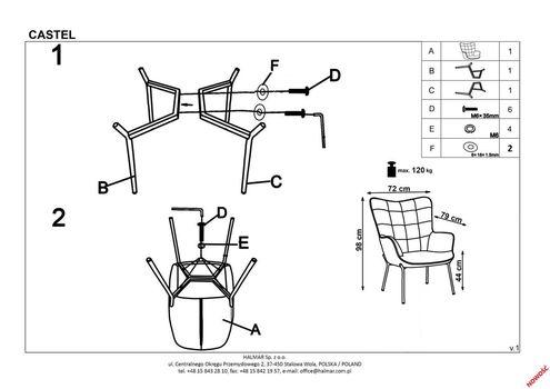 купить Кресло Castel 2 черный в Кишинёве