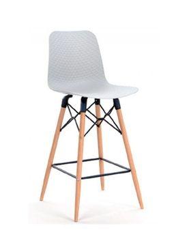 купить Scaun bar din plastic, picioare de lemn cu suport din fier 475x470x1035 mm, negru NET-BAR-NFPN в Кишинёве
