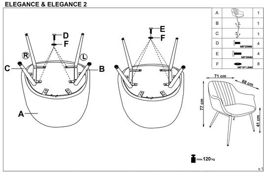 купить Кресло ELEGANCE (серый) в Кишинёве