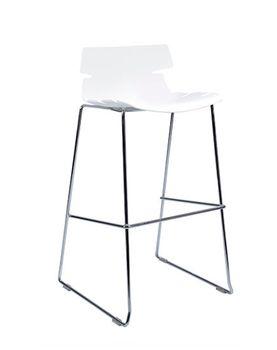 купить Scaun bar din plastic, picioare cromate 500x525x970 mm, alb CT-602A в Кишинёве
