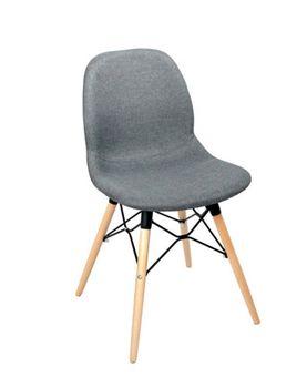 купить Scaun din plastic tapitat si picioare din lemn cu suport din metal 485x460x855 mm, gri PW-025NPS-H507-26 в Кишинёве