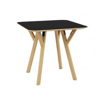 купить Masa patrata din lemn cu picioare din lemn si suport din metal 800x800x750 mm, negru TB-06-8080N в Кишинёве