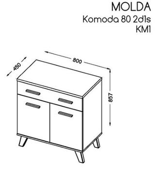 купить Комод Molda KM-1 (белый/дуб сонома) в Кишинёве