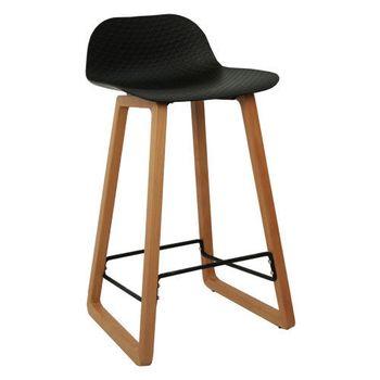 купить Scaun bar din plastic, picioare de lemn 460x470x865 mm, negru NET-BAR-WN в Кишинёве