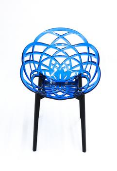 купить Кресло Flora (синий/черный матовый) в Кишинёве