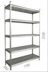 купить Стеллаж оцинкованный металлический Gama Box  1195Wx380Dx2130H мм, 5 полки/МРВ в Кишинёве