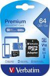 купить Verbatim Premium MicroSDXC 64GB Class 10 + SD-адаптер в Кишинёве