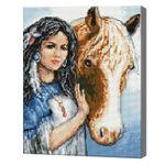 Путешественница и лошадь, 40x50 см, алмазная мозаика Артикул: QA202677