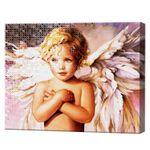 Цветок Ангел, 40x50 см, комбо-набор для росписи номеров + алмазная мозаика, YHDGJ72407