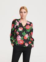 Блуза RESERVED Черный в цветочек zh441-mlc