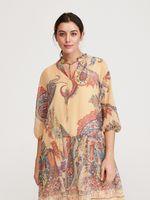 Платье RESERVED Бежевый с принтом xz617-mlc