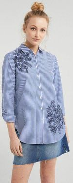 Блуза SPRINGFIELD Белый в синюю полоску