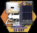 Сетевая солнечная станция 15 кВт под зелёный тариф (3 фазы, 2 МРРТ)