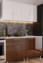 Кухонный гарнитур Bafimob Mini (High Gloss) 1.6m White/Brown