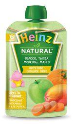 Пюре Heinz яблоко, морковь, тыква, манго с 6 месяцев, 90г
