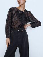 Блуза ZARA Черный с принтом 3440/241/800