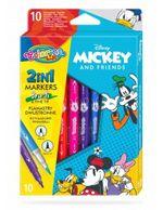Набор фломастеры 2 в 1, 10 цветов - Colorino Disney Mickey Mouse
