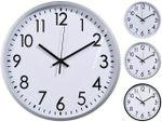 Часы настенные круглые 30cm, H3cm, пластик, белый, 3 дизайна
