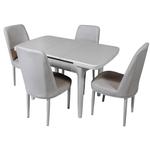 Комплект раздвижной столовой DT A 56 белый + 4 стула CX 202 белый кожаный белый футляр