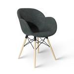 Пластиковый стул с обивкой, деревянные ножки 600x580x840 мм