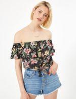 Блуза Jennyfer Черный в цветочек