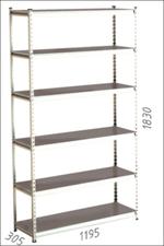 Стеллаж металлический Moduline 1195x305x1830 мм, 6 полок/0112PE серый