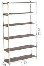Стеллаж металлический Moduline 1195x305x2440 мм, 6 полок/0112PE серый