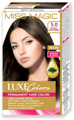 Vopsea p/u păr, SOLVEX Miss Magic Luxe Colors, 108 ml., 5.0 - Castaniu natural deschis