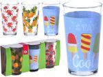 Набор стаканов 3шт, 225ml, D7cm, H11cm с разным рисунком