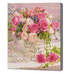 Корзина пастельных роз, 40x50 см, алмазная мозаика, QA204704