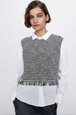 Блуза ZARA Белый/черный 2327/140/093