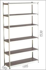 Стеллаж металлический Moduline 1195x580x1530 мм, 6 полок/0164PE серый