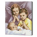 Ангелочки у колыбели, 40x50 см, алмазная мозаика Артикул: QA203152