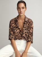 Блуза Massimo Dutti Бежевый с принтом 5118/808/990