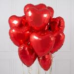 11 Гелиевые шары в форме сердца фoльга - Mix