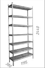Стеллаж оцинкованный металлический Gama Box 1195Wx380Dx2440 Hмм, 7 полки/МРВ