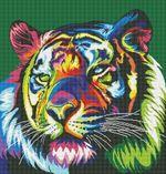 Радужный тигр, 40x50 см, алмазная мозаика, S139
