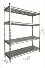 Стеллаж оцинкованный металлический Gama Box 1490Wx380Dx1530H мм, 4 полки/МРВ