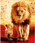 Картина для рисования по номерам Лев со львенком 40x50 см  2309