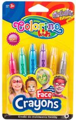 Мелки для лица  Metallic Colorino 6 цвт.
