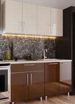 Кухонный гарнитур Bafimob Mini (High Gloss) 1.6m Beige/Brown