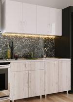 Кухонный гарнитур Bafimob Mini (High Gloss) 1.4m White/Carton