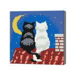 Котики на крыше при луне, 20x20 см, алмазная мозаика