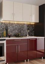 Кухонный гарнитур Bafimob Mini (High Gloss) 1.4m Bordo/Beige