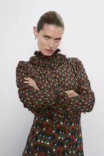 Блуза ZARA Коричневый с принтом 8570/095/745