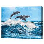 Дельфины играют, 40х50 см, картина по номерам Артукул: GX26749