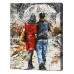 Пара гуляет под дождем, 40x50 см, комбо-набор для росписи номеров + алмазная мозаика, YHDGJ70697