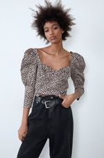Блуза ZARA Бежевый с принтом леопард zara 7385/001/051