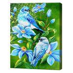 Алмазная мозаика + роспись по номерам 40x50 см Лазурные цветы и птицы YHDGJ75470