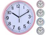 Часы настенные D22.5, H3.8cm, пластик, 4 цвета